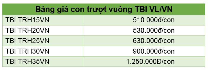 Bảng giá Trượt vuông TBI VL/VN