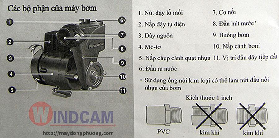 Các bộ phận của máy bơm nước panasonic
