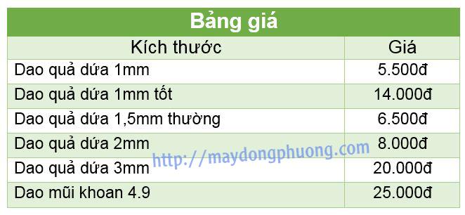 Kích thước và giá mũi phay mạch CNC