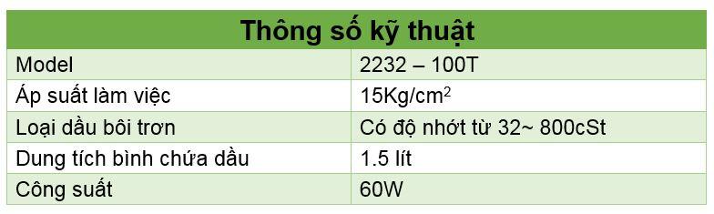 Thông số kỹ thuật bình bơm dầu tự động
