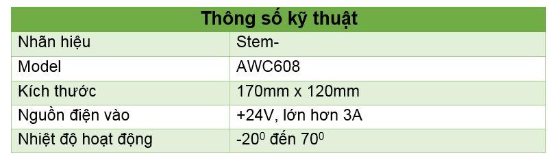 Thông số kỹ thuật Bộ điều khiển máy Laser AWC 608