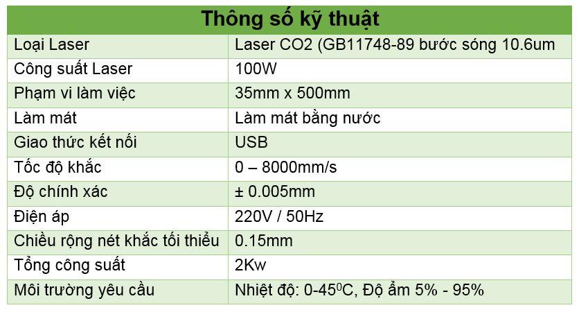 Thông số kỹ thuật máy laser CO2 khắc nhãn