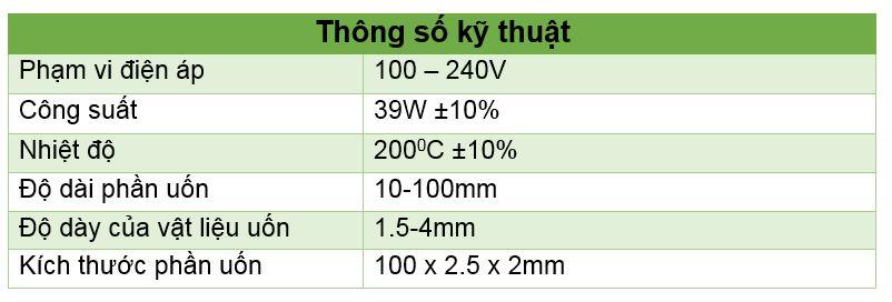Thông số kỹ thuật máy uốn mica góc vuông